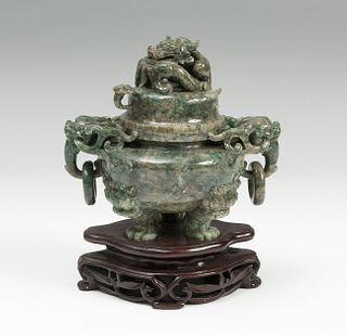 Tibor China, early 20th century. Jade Nephrite Wood base.