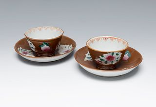 Pair of small bowls with plates from the Rosa Family. China, Quianlong period, ca. 1760. Glazed porcelain.