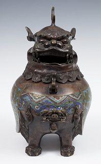Censer. Japan, late s. XIX. Bronze and cloisonne enamels.