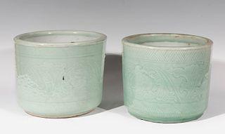 Pair of flowerpots. China, 19th century. Glazed porcelain.