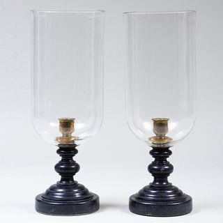 Pair of Black Marble and Glass Photophores