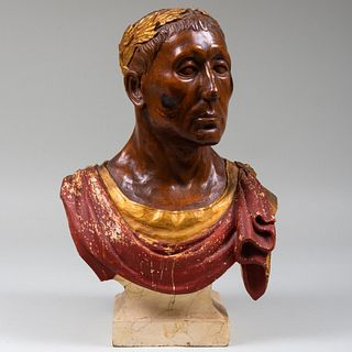 Continental Carved Oak and Polychrome Bust of Caesar