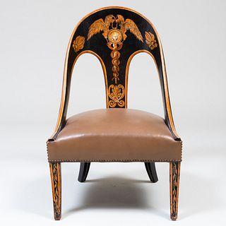 Regency Painted Spoonback Slipper Chair