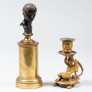 Miniature Continental Bronze Bust of a Caesar and a Gilt-Metal-Mounted Saytr Form Chamberstick