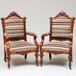 Pair of Victorian Mahogany Armchairs