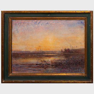 Francois-Auguste Ravier (1814-1895): Coucher de soleil sur la Lande