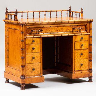 Birdseye Maple and Bamboo Kneehole Desk