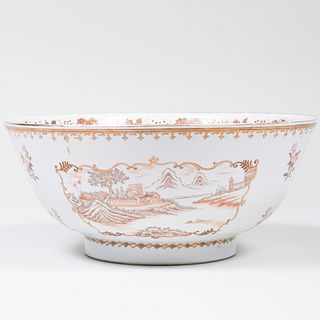 Chinese Export Style Porcelain Punch Bowl