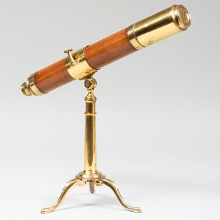 Convertable Brass and Oak Telescope with Collapsible Tripod Legs