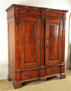 Swedish Neoclassical Carved Walnut Armoire
