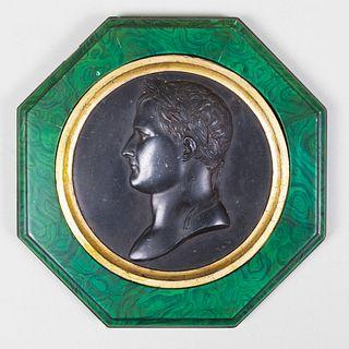 Bronze Portrait Medallion of Napoleon with Faux Malachite Frame