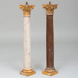 Small Pair of Italian Corinthian Polychromed Wood Fluted Columns