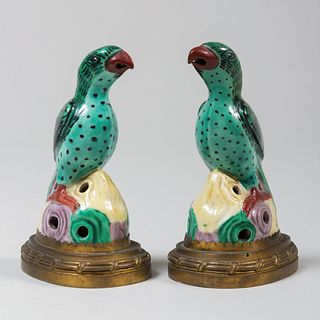 Pair of Gilt-Metal-Mounted Chinese Export Models of Birds