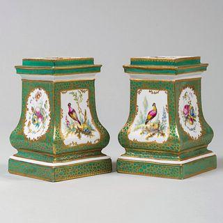 Pair of Sèvres Green Ground Porcelain Bough Pots