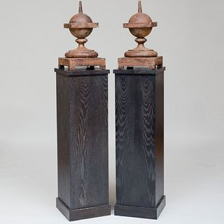 Pair of Painted Iron Finials on Cerused Oak Pedestals