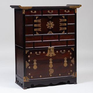 Korean Stained Wood Tansu Chest