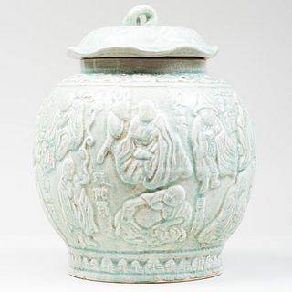Two Chinese Celadon Crackle Glaze Jars and a Cover