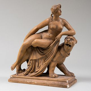 Painted Plaster Figure of Ariadne and the Panther, After a Model by Johann Heinrich von Dannecker