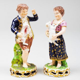 Pair of Bloor Derby Porcelain Figures of Child Shepherd and Companion