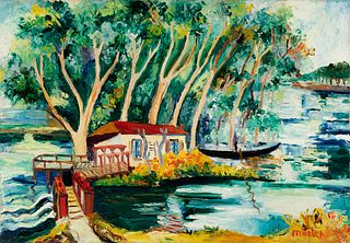 """ELISÉE MACLET (Lyons-en-Santerre, 1881 - Paris 1962). """"La Grenouillère on the river Seine"""". Oil on canvas. Signed in the lower right corner and on the"""