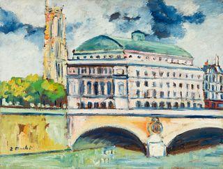 "ELISÉE MACLET (Lyons-en-Santerre, 1881 - Paris 1962). ""Napoleon Bridge over the Seine River"". Oil on cardboard. Signed in the lower left corner."