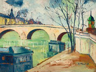 "ELISÉE MACLET (Lyons-en-Santerre, 1881 - Paris 1962). ""Pont Royal on the river Seine"". Oil on cardboard. Signed in the lower right corner."