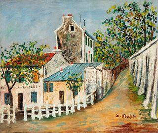 """ELISÉE MACLET (Lyons-en-Santerre, 1881 - Paris 1962). """"Cabaret de Lapin Agile"""", Montmartre. Oil on canvas. Signed in the lower left corner."""