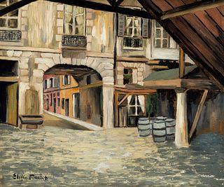 """ELISÉE MACLET (Lyons-en-Santerre, 1881 - Paris 1962). """"Street of the Vieux Paris"""". Oil on canvas. Signed in the lower left corner."""
