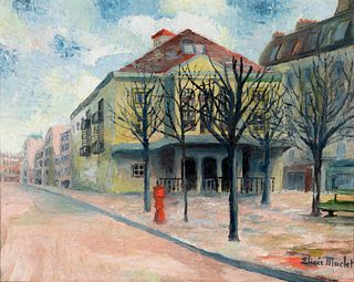"ELISÉE MACLET (Lyons-en-Santerre, 1881 - Paris 1962). ""Theater of the Atelier"", Paris. Oil on panel. Signed in the lower right corner."