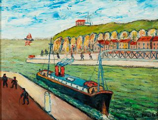 """ELISÉE MACLET (Lyons-en-Santerre, 1881 - Paris 1962). """"Ship on the Normandy coast."""" Oil on cardboard. Signed in the lower right corner."""