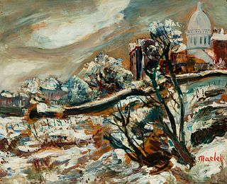 """ELISÉE MACLET (Lyons-en-Santerre, 1881 - Paris 1962). """"La butte de Montmartre without the snow"""". Oil on cardboard. Signed in the lower right corner. T"""