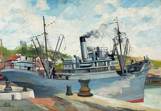 """ELISÉE MACLET (Lyons-en-Santerre, 1881 - Paris 1962). """"Le bateau gris"""" (The gray ship), Dieppe, 1919. Oil on cardboard. Signed and dated in the lower"""