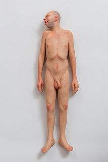 """RICHARD STILP (Czech Republic, 1968) """"Tribute to Ron Mueck's dead dad"""", 2005. Polychromed resin . Signature on the base of each piece."""