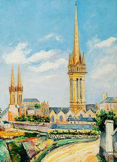 "ELISÉE MACLET (Lyons-en-Santerre, 1881 - Paris 1962). ""Cathedral of Saint Pol de Leon"", Brittany. Oil on canvas. Signed in the lower right corner."