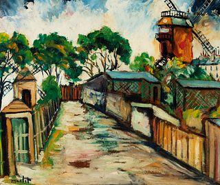 "ELISÉE MACLET (Lyons-en-Santerre, 1881 - Paris 1962). ""Behind the Moulin de la Galette"", Montmartre. Oil on cardboard. Signed in the lower left corner"