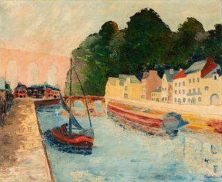 """ELISÉE MACLET (Lyons-en-Santerre, 1881 - Paris 1962). """"Canal under the aqueduct of Louveciennes"""", Paris. Oil on canvas. Signed in the lower right corn"""