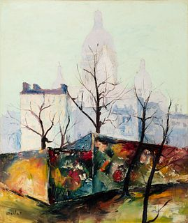 """ELISÉE MACLET (Lyons-en-Santerre, 1881 - Paris 1962). """"Trees before the Basilica of the Sacré Coeur"""". Oil on canvas. Relined. Signed in the lower left"""