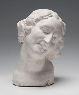 """JOSEP CLARÀ I AYATS (Olot, Girona, 1878 - Barcelona, 1958). """"El somriure"""" (Portrait of the dancer Isabel Rodríguez), 1918. Cast. Godard Pere Fondeur b"""