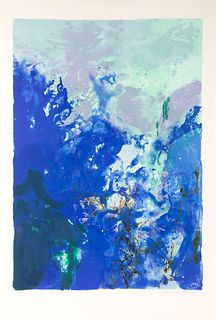 ZAO WOU KI (Beijing, 1921 - Nyon, Switzerland, 2013). Untitled, from the Olympic Centennial Suite, 1992. Lithograph on Vélin d'Arches paper of 270 gra