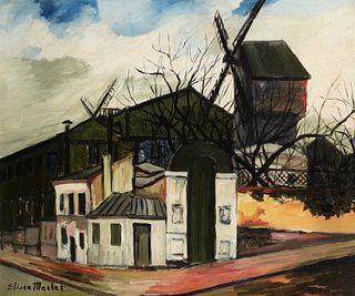 """ELISÉE MACLET (Lyons-en-Santerre, 1881 - Paris 1962). """"Moulin de la Galette"""", Montmartre. Oil on canvas. Signed in the lower left corner."""