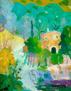 "CASIMIRO MARTÍNEZ TARRASSÓ (Sarrià, Barcelona, 1898 - Barcelona, 1980). ""La caseta groga"", Deyá. Oil on canvas. Signed in the lower right corner. Sign"