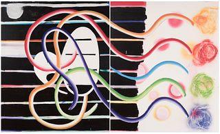 """FELICIDAD MORENO (1959, Lagartera, Toledo, Spain). """"Butterfly knots"""", 2003. Diptych. Acrylic on canvas."""
