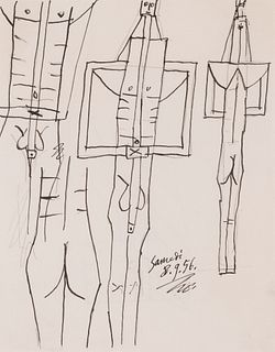 """PABLO RUIZ PICASSO (Málaga, 1881 – Mougins, 1973). """"Sketch for the bathers"""", 1956. Mixed media on paper. Attach certificate issued by Claude Picasso."""