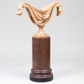 Art Deco Style Bleached Wood Urn on a Faux Porphyry Pedestal, In the Manner of Elsie de Wolfe