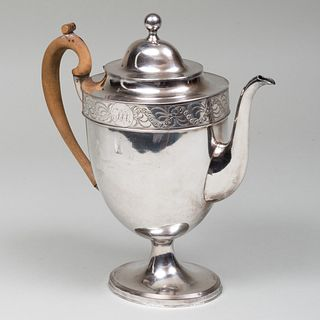 English Silver Plate Coffee Pot with Hinged Cover