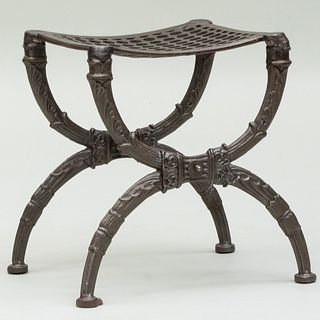 Polished Iron Curule-Form Stool
