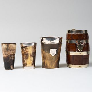 Group of Four English Horn and Leather Cups