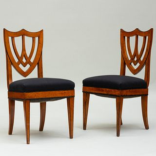 Pair of Biedermeier Fruitwood and Ebonized Side Chairs
