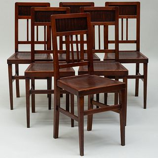 Set of Six English Aesthetic Movement Oak Dining Chairs