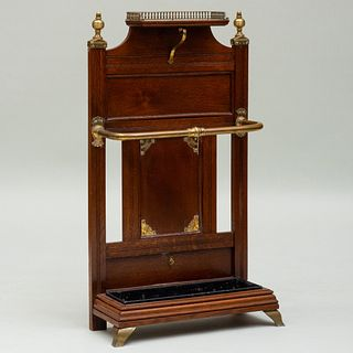 Victorian Brass-Mounted Mahogany Umbrella Stand, attributed to James Shoolbred & Co.